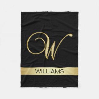 Elegant Black Monogrammed Initials 'W' with Name Fleece Blanket