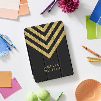 Elegant Black Name Faux Gold Chevron Pattern iPad Pro Cover