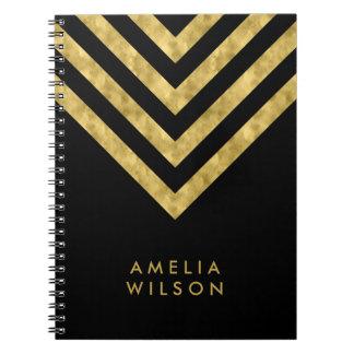 Elegant Black Name Faux Gold Chevron Pattern Notebook