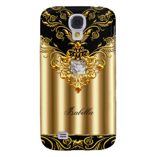 Elegant Black on Gold Monogram add name Galaxy S4 Cover