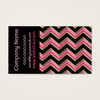 Elegant Black on Hot Pink  ZigZag  Business Card