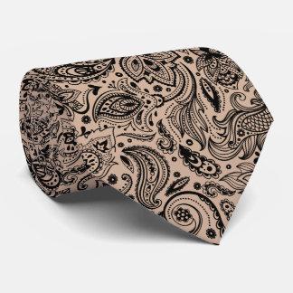 Elegant Black On Tan Floral Paisley Pattern Tie