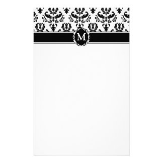 Elegant Black on White Damask Customized Stationery