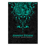 Elegant Black Paisley & Teal-Green Floral Lace Pack Of Chubby Business Cards