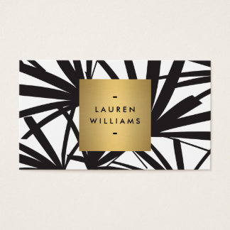 Elegant Black Palm Fronds with Gold Nameplate Logo Business Card