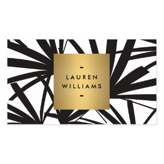 Elegant Black Palm Fronds with Gold Nameplate Logo Pack Of Standard Business Cards