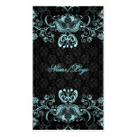 Elegant Black & Pastel Blue Floral Swirls Pack Of Standard Business Cards