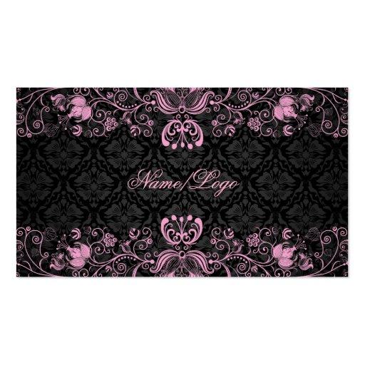 Elegant Black & Pastel Pink Floral Swirls Business Cards