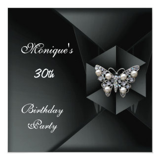 "Elegant Black Pearl Butterfly Jewel 30th Birthday 5.25"" Square Invitation Card"