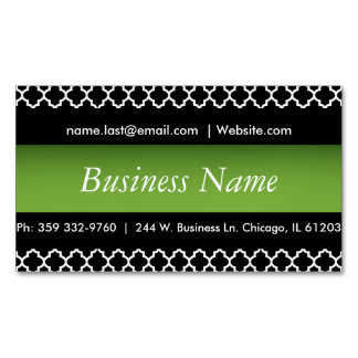 Elegant Black & Peridot Green Quatrefoil Design Magnetic Business Cards