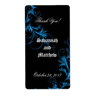 Elegant, Black Personalized Wedding Wine Labels