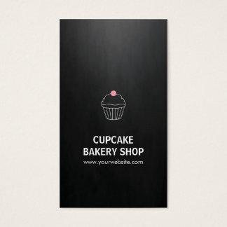 Elegant Black Pink Cupcake Sweet Bakery Shop Business Card
