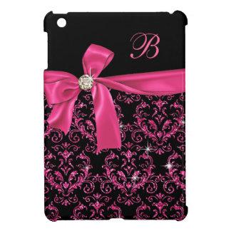 Elegant Black Pink Damask Diamond Bow Monogram