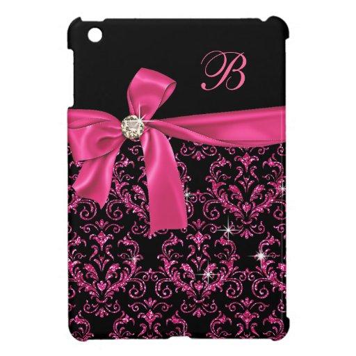 Elegant Black Pink Damask Diamond Bow Monogram iPad Mini Covers