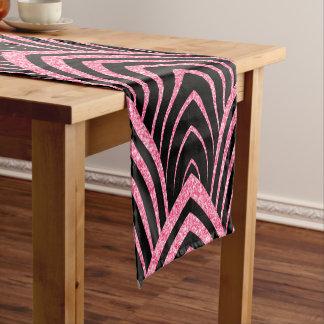 Elegant Black & Pink Glitter Art-Deco Pattern Short Table Runner