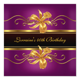 Elegant Black Plum Gold Jewel 40th Birthday Party Card