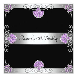 Elegant Black Purple Silver Jewel 40th Birthday Card