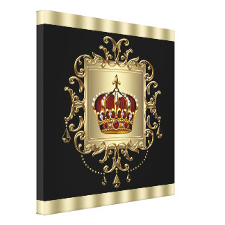 Elegant Black Red and Gold Crown Canvas Wall Art Canvas Prints