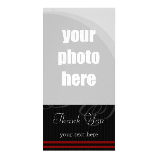 "Elegant Black/Red ""Thank You"" Photo Card"