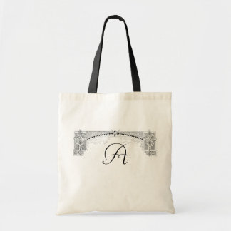Elegant Black Religious Design Monogram Tote Bag