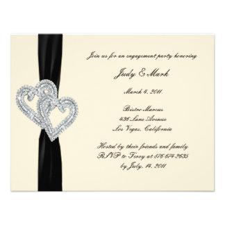 Elegant Black Ribbon Engagement Party Invitation