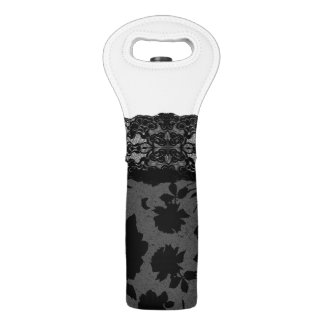 Elegant Black Rose Floral Print Lace Stockings Wine Bag