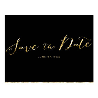 Elegant Black Save The Date Postcards