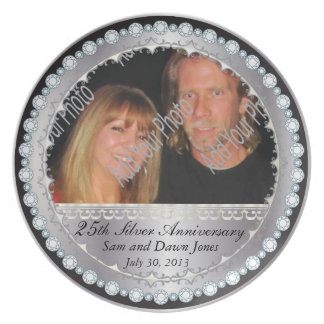 Elegant Black & Silver 25th Silver Anniversary Plate