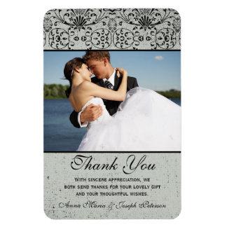 Elegant black silver damask wedding thank you magnets