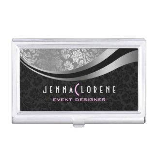Elegant Black & Silver Damasks Geometric Design Business Card Holder