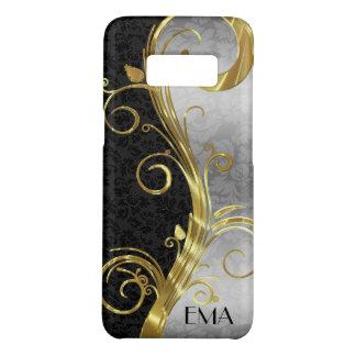 Elegant Black Silver Damasks Gold Swirl Case-Mate Samsung Galaxy S8 Case