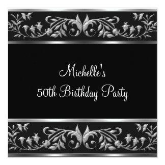 Elegant Black & Silver Floral 50th Birthday Party 13 Cm X 13 Cm Square Invitation Card