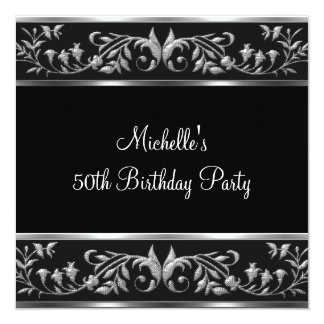 Elegant Black & Silver Floral 50th Birthday Party Card