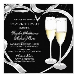 Elegant Black Silver & Gold Engagement Party 13 Cm X 13 Cm Square Invitation Card
