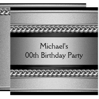 Elegant Black Silver Metal Chain Birthday Party Card