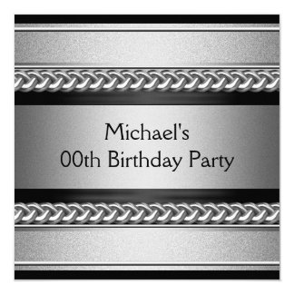 Elegant Black Silver Metal Chain Birthday Party Card