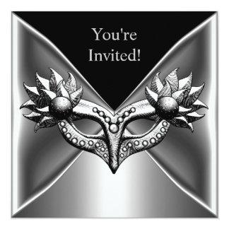 Elegant Black Silver Metal Mask Event Party 2 13 Cm X 13 Cm Square Invitation Card