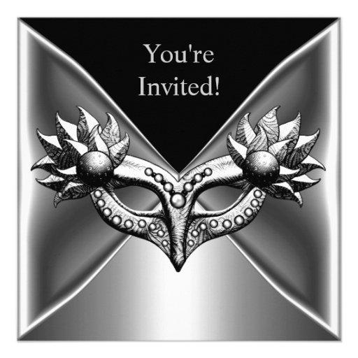 Elegant Black Silver Metal Mask Event Party 2 Announcement