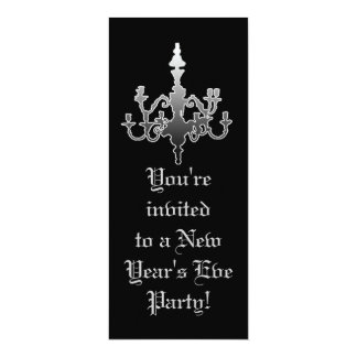 Elegant Black & Silver New Year's Eve Invitations