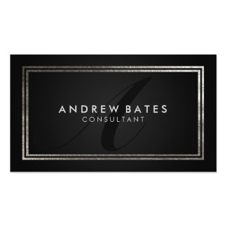 Elegant black silver professional modern monogram pack of standard business cards