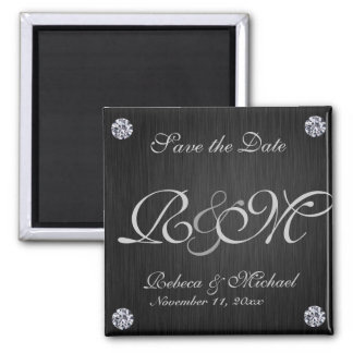 Elegant Black / Silver with Diaminds Save the Date Square Magnet