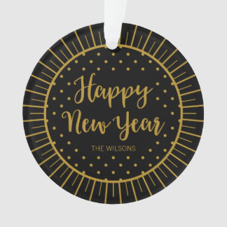 Elegant Black Starburst Script Happy New Year Ornament