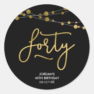 Elegant Black Strings of Lights 40th Birthday Classic Round Sticker