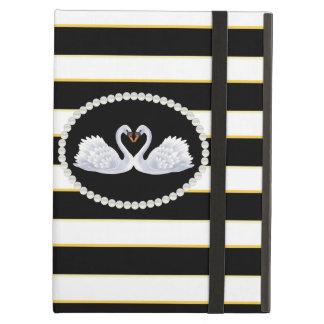 Elegant Black Stripe Swans Ipad Case