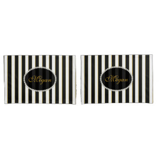 Elegant Black Striped Pearl Monogram Case Set Pillowcase
