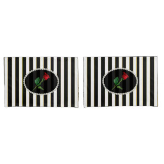Elegant Black Striped Pearls & Red Rose Set Pillowcase