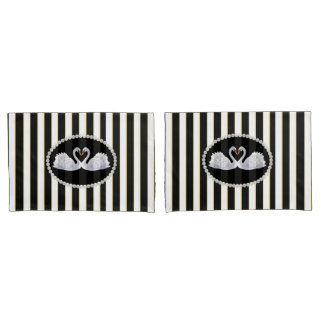 Elegant Black Striped Pearls & Swans Case Set Pillowcase