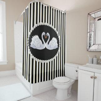 Elegant Black Striped Pearls & Swans Shower Curtai Shower Curtain
