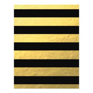 """Elegant Black Stripes Gold Foil Printed 8.5"""" X 11"""" Flyer"""