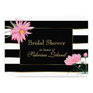 Elegant Black Stripes Pink Floral Bridal Shower Card